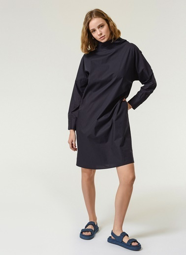 NGSTYLE NGSTYLE Kadın Yaka Detaylı Elbise Lacivert
